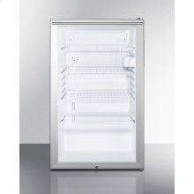 "Commercially Listed ADA Compliant 20"" Wide Glass Door All-refrigerator for Freestanding Use, Auto Defrost With A Lock, Horizontal Handle and White Cabinet"