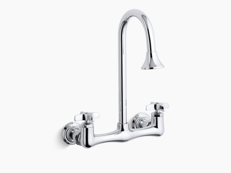 Kohler K73193cp Studio41 Polished Chrome Double Cross Handle Utility Sink Faucet With Rosespray Gooseneck Spout