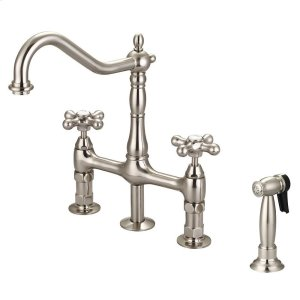 Emral Kitchen Bridge Faucet with Metal Button Cross Handles - Brushed Nickel Product Image