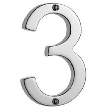 """Antique Brass Unlacquered Door numeral """"3"""""""