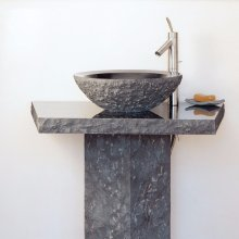 Vessel Pedestal and Pedestal Countertop Blue Gray Granite