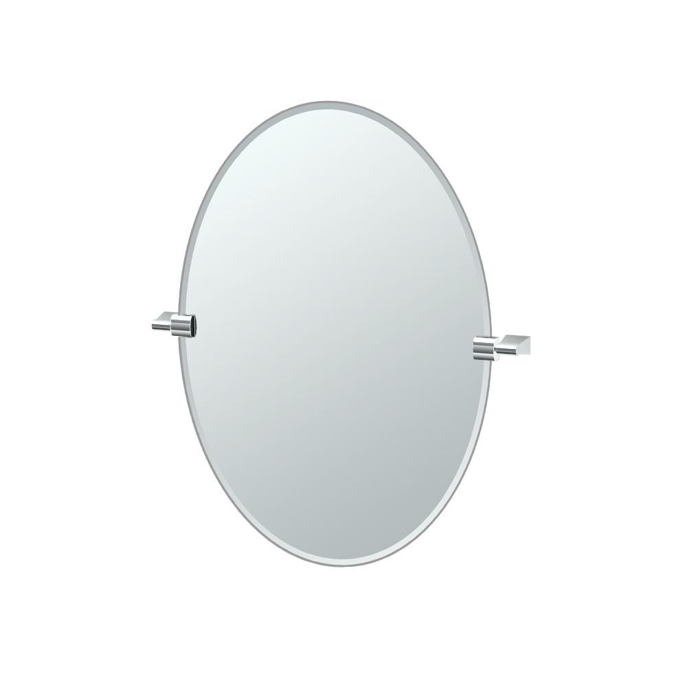Bleu Oval Mirror in Chrome