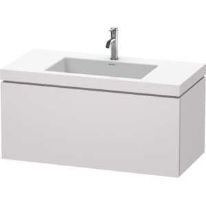 Furniture Washbasin C-bonded With Vanity Wall-mounted, White Lilac Satin Matt Lacquer