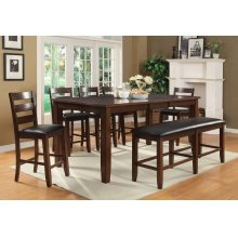 """Arianna Brown Counter Height Pub Table with 18"""" Leaf"""