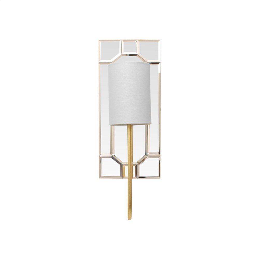 """Mirror Plate Sconce With White Linen Shade In Gold Leaf - Uses (1) E12 40 Watt Candelabra Bulbs - Backplate 6.5"""" W X 15"""" H"""