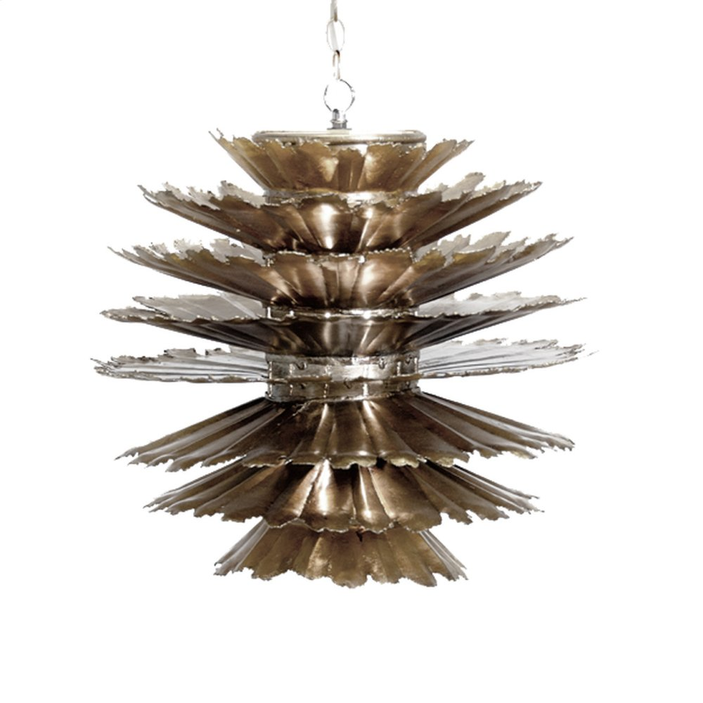 Champagne Silver Leafed Iron Pierced Pendant. Comes With 3' Matching Chain and Canopy. Uses (1) Single 60w Bulb. Additional Chain May Be Purchased Upon Request.