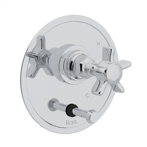 Polished Chrome San Giovanni Pressure Balance Trim With Diverter with Five Spoke Cross Handle Product Image