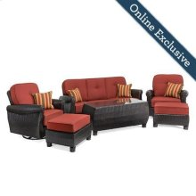 Breckenridge 6 Piece Patio Furniture Seating Set, Brick Red