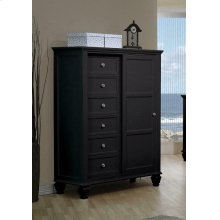 Sandy Beach Black Door Dresser With Concealed Storage