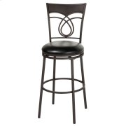 Madison Swivel Seat Bar Stool with Umber Finished Metal Frame, Swirled Designed Seatback and Black Faux Leather Upholstery, 30-Inch Seat Height Product Image