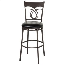Madison Swivel Seat Bar Stool with Umber Finished Metal Frame, Swirled Designed Seatback and Black Faux Leather Upholstery, 30-Inch Seat Height