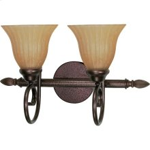 """2-Light 18"""" Copper Bronze Vanity Light Fixture with Champagne Linen Washed Glass"""