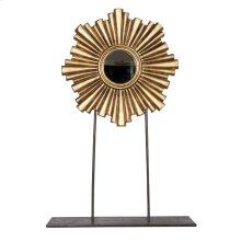 Large Gold Leaf Iron/wood Mini Mirror.