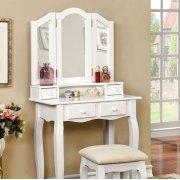 Janelle Vanity W/ Stool, White Product Image
