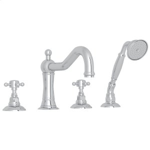 Polished Chrome Acqui 4-Hole Deck Mount Column Spout Tub Filler With Handshower with Cross Handle Product Image