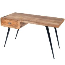 Simply understated! The clean lines of this desk offer an eclectic elegance with a stylish flair. Crafted with Mango Wood, a black iron base and a drawer for storage. Antique gray finish.