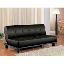 Contemporary Black Faux Leather Sofa Bed