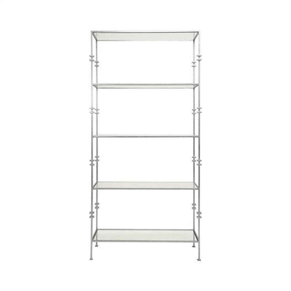 Tall Etagere With Square Iron Rings In Silver Leaf