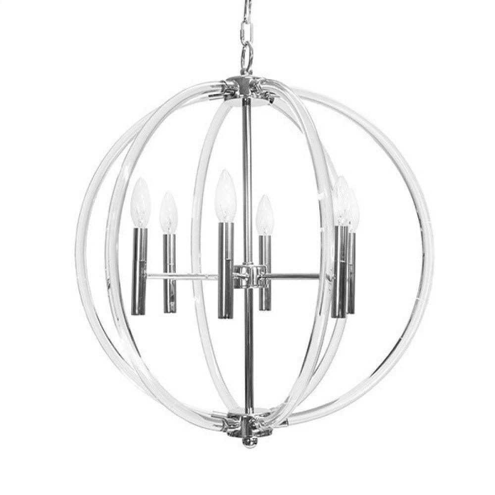 Acrylic Six 40 Watt Light Chandelier In Nickel