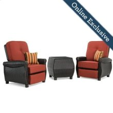 Breckenridge 3 Piece Patio Furniture Set, Brick Red