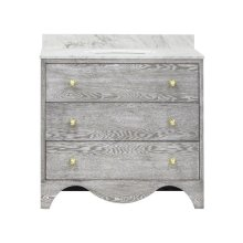 """Bath Vanity With White Marble Top In Grey Cerused Oak With Antique Brass Hardware Features: - White Porcelain Sink Included - Optional White Carrara Marble Backsplash Included - for Use With 8"""" Widespread Faucet (not Included) - Two Working Drawers"""