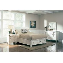 Sandy Beach White California King Sleigh Bed With Footboard Storage