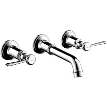 Chrome 3-hole basin mixer for concealed installation wall-mounted with spout 165 - 225 mm and lever handles