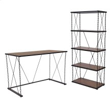 Antique Wood Grain Finish Computer Desk and Four Shelf Bookshelf with Chain Accent Metal Frame