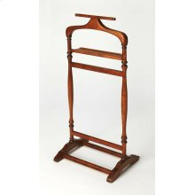 A perfect piece to organize and hang apparel, so you can ease in to your morning routine without a wrinkle, this Olive Ash Burl finished valet stand is practical and well-crafted. Made from select wood solids and choice veneers, the various racks allow yo