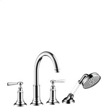 Chrome 4-hole rim mounted bath mixer with lever handles