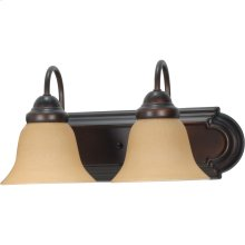 2-Light Wall Mounted Vanity Light Bar in Mahogany Bronze Finish with Champagne Linen Glass