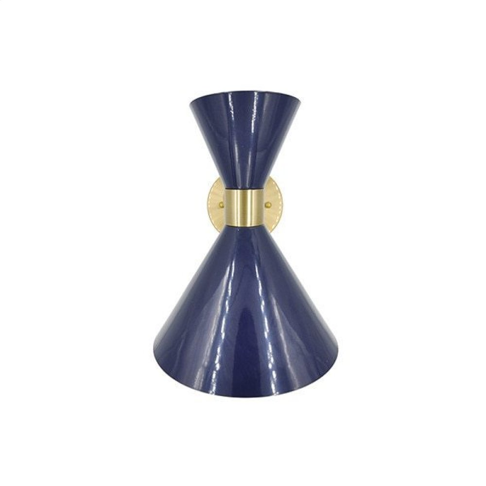 Metal Shade Sconce With Antique Brass Detail In Navy