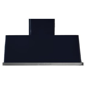 """Gloss Black with Stainless Steel Trim 48"""" Range Hood with Warming Lights"""