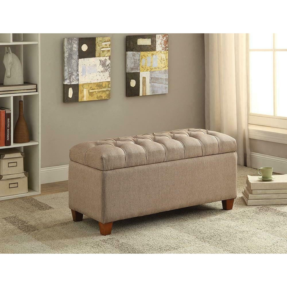 Tufted Taupe Storage Bench