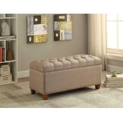 Tufted Taupe Storage Bench Product Image