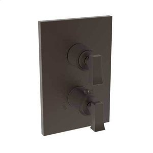 """Weathered Brass 1/2"""" Square Thermostatic Trim Plate with Handle"""