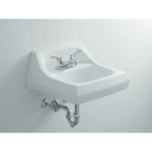 """Almond 21-1/4"""" X 18-1/8"""" Wall-mount/concealed Arm Carrier Bathroom Sink With 4"""" Centerset Faucet Holes"""