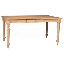 3660T Solid Top Farmhouse Table with Half bullnose edge & one drawer