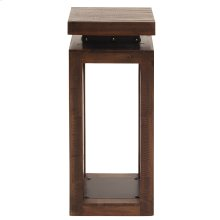 Rustic Wood Pedestal with Iron Accents, Small