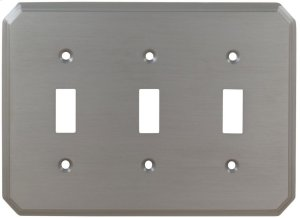 Triple Traditional Switchplate in (US15 Satin Nickel Plated, Lacquered) Product Image