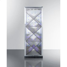 Full-size Commercially Listed Wine Cellar With Stainless Steel Interior, Diamond Style Shelving, Digital Controls, Self-closing Glass Door, and Stainless Steel Cabinet