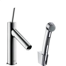 Chrome Single lever basin mixer 90 with bidette hand shower and shower hose 1.60 m