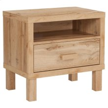 1 Drawer Nighstand with Open Storage in Rustic Oak
