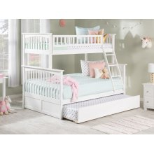 Columbia Bunk Bed Twin over Full with Urban Trundle Bed in White