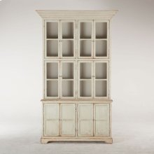 "Library Tall Glass Cabinet 60"" Antique Light Green"
