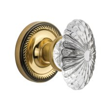 Nostalgic Warehouse - Single Dummy- Rope Rose with Oval Fluted Crystal Knob in Antique Brass