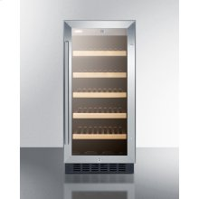 "15"" Wide Built-in ADA Compliant Commercial Wine Cellar for Display and Refrigeration of Up To 23 Bottles, With Glass Door, Digital Controls, Front Lock, LED Lighting, and Black Cabinet"