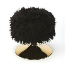 Tastefully textured and fashion forward, this faux fur stool is sure to make a statement in any space. Founded atop a pestal, metal base finished in gold, this piece features a round seat that's covered in faux fur upholstery for a hint of plush glamou