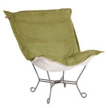 Scroll Puff Chair Bella Moss Titanium Frame
