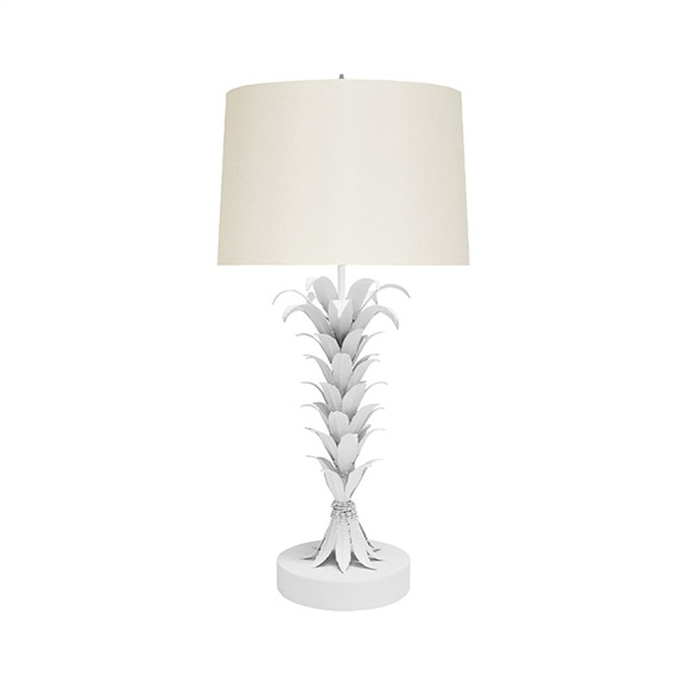 Palm Leaf Table Lamp In White Powder Coat